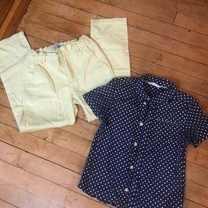 Buy 1/Get 1: Yellow Khaki and Blue Polka Dot Shirt